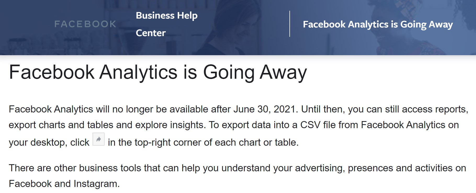 Facebook Analytics is Going Away by 30 June 2021